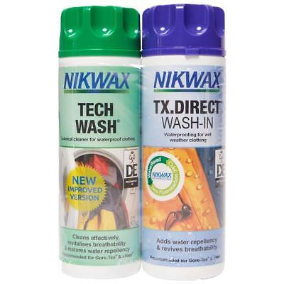 New Nikwax Fabric Washing Cleaning Tech Wash And TX Direct 300 ML Twin Pack