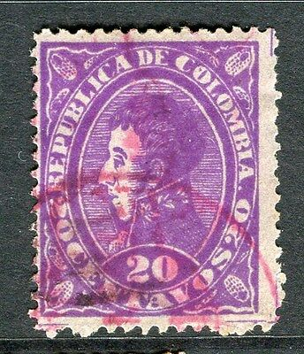COLOMBIA;  1886 early classic fine used 20c. value