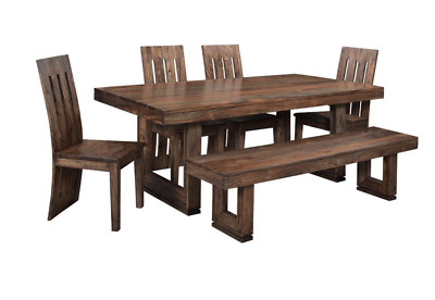 "Set of 6 - 80"" L Dining Table bench chair Solid Rosewood Gray and Amber Tone"