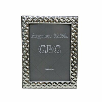 925 Sterling Silver Waffle Photo Frame 5 x 7 Cherry Wood Back