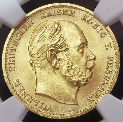 1872 A Gold Prussia Germany 10 Mark Wilhelm I Coin Ngc Mint State 64