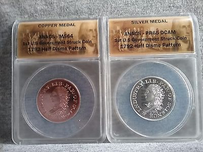 1792 Silver/copper Half Disme (Pattern Coins) 1St Us Cgovernment Stuck Coin Read