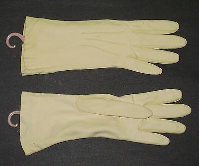 Vintage Ladies  Leather Driving Cream Gloves Size 6 3/4 English Doeskin 10 Long