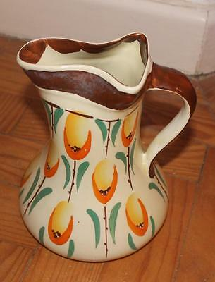Stylish ART DECO period MYOTT pottery hand painted TULIP pattern PINCH neck JUG