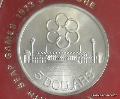 "1973 Singapore Cased Large $5 Dollar Uncirculated ""seap"" Games Silver Toning"