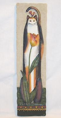 """E. Smithson 3D Tulip Cat Plaque Wall Hanging Picture 11"""""""