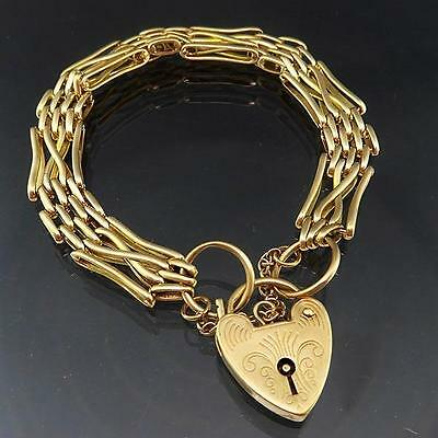English Vintage 9K GOLD GATE LINK BRACELET HEART LOCK CLASP solid yellow estate