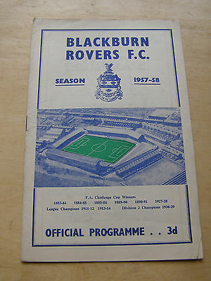 Blackburn v Barnsley Div 2 Sept 9th 1957