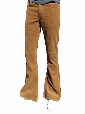FLARES Tobacco Brown mens bell bottoms vtg indie trousers beige hippie 70's 60's