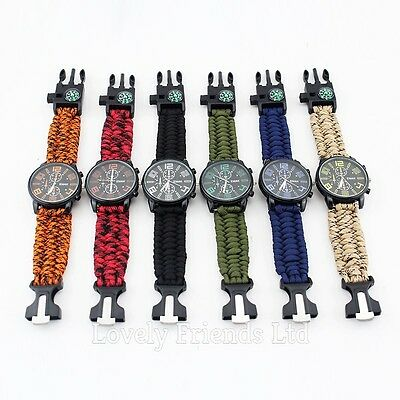 New Model Survival Paracord Watch Bracelet COMPASS FLINT WHISTLE Outdoor Hiking
