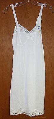 Vintage French Maid White Full Slip 34A New With Tags Lace