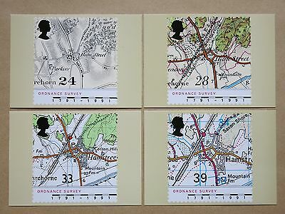 4 ROYAL MAIL STAMP CARD SERIES PHQ POSTCARDS - Maps 1991