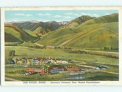 Unused W-Border AERIAL VIEW OF TOWN Sun Valley Idaho ID p0178