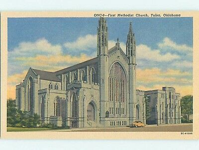 Unused Linen CHURCH SCENE Tulsa Oklahoma OK p4612
