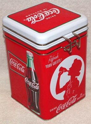 """Coca-Cola """"refresh Your Guest"""" Square Lock Top Canister Tin, New! Take A L@@k!"""