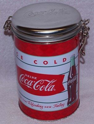 """Coca-Cola """"enjoy That Refreshing New Feeling"""" Round Lock Top Canister Tin, New!"""