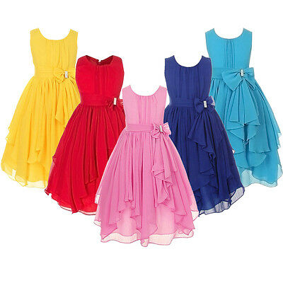 Flower Girl Princess Dress Kids Baby Party Pageant Wedding Bridesmaid Ball Gown
