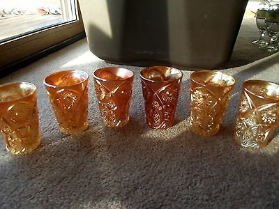 (6) TUMBLERS Ultra Rare Crab Claw variant 409 Marigold carnival glass Imperial