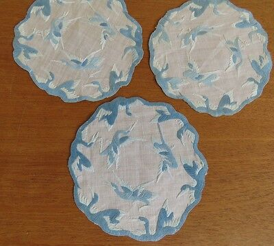 Vintage Doilies Chinese Embroidered Doily Table Coasters Bird Crane Embroidery