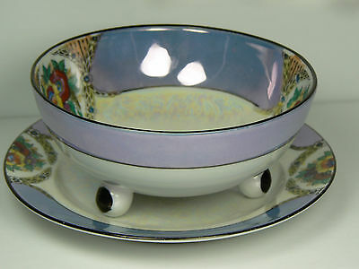 Noritake Lusterware Handpainted Footed Bowl Underplate Whipped Cream Mayonnaise
