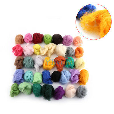 36 Color Fibre Wool Roving Needle Felting Sewing Trimming Set DIY Craft Gift Hot