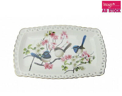 Blue Wren Plate 25x13cm Home Kitchen Fine Bone China Collectable Gift CW474
