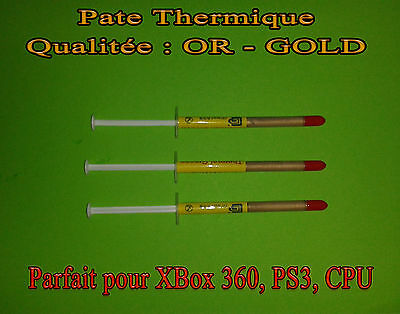 3 x Pate Thermique qualité GOLD - OR CPU INTEL, AMD, PS3 XBOX 360