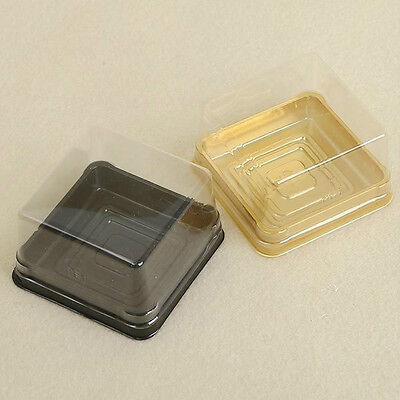 100Pcs=50Sets Plastic Cup cake Muffin Box Container Clear Lid Wedding Decor