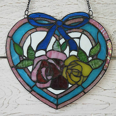 Handmade Tiffany Stained Glass Panel Plaque Blue Heart Floral Rose Suncatcher