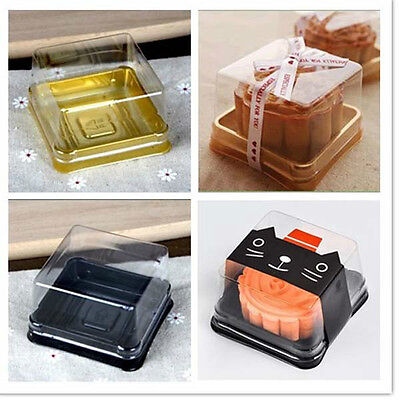50Pcs=25Sets Plastic Cup cake box Muffin Box Container Clear Lid Wedding Decor