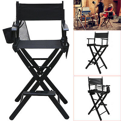 Black Professional Folding Makeup Artist Director Chair Wood W/Side Bags New