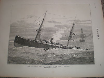 The Strathclyde after being hit by the Franconia off Dover 1876 print ref V