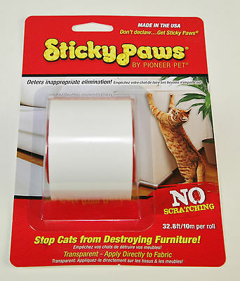 Sticky Paws On-A-Roll 10m, Plastic Transparent Strips to Prevent Cats Scratching