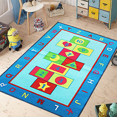 Kids Blue Hopscotch Rug Non-Slip Floor Carpet Children Play Bedroom Soft Fun Mat