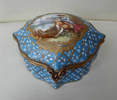Beautiful Small Sevres Porcelain Hand Painted Jewellery Trinket Box