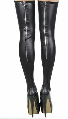 black leather stockings over the knee socks thigh high hold-ups zip tights NEW