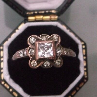 Women's Antique 9ct Rose Gold White Sapphire Stone Cluster Ring Size O Weight 2g