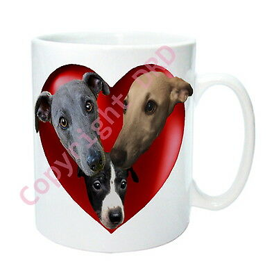 Whippet Gift Dog Mug - Hearts & Whippets inc Puppy, Birthday Gift Valentines