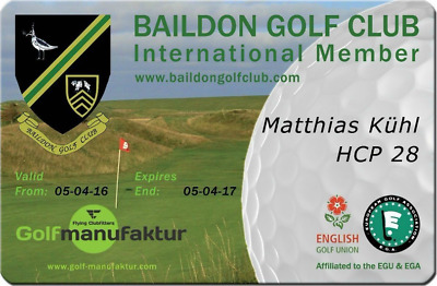 International Golf Membership Gents Receive Handicap 28 Ladies 36 Official Card