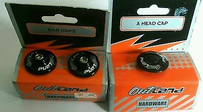 Outland Bike Bar End Caps and head cap - Black new plugs stoppers