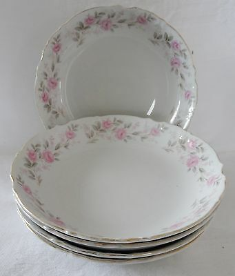 Lot 5 MIKASA 9323 Flat Soup Bowls ALPINE ROSE White with pink flowers