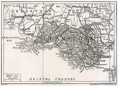 1923 map of Wales: Glamorgan ready-mounted antique print SUPERB