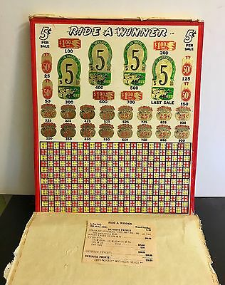 Punch Board ~ Ride A Winner ~ 5 Cent ~ New Old Stock