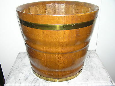 Large Antique Flower Pot From Oak Wood With Brass Hoops.