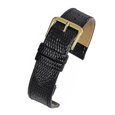 Mens 18mm genuine real leather black lizard grain watch strap band