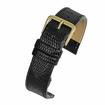 Mens genuine real leather black lizard grain watch strap band width 18mm