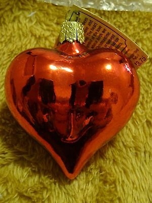 """Old World Christmas Large 3"""" Shiny Red Heart Glass Blown Ornament"""