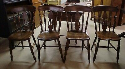 Antique Fiddle Back Set of (4) Dining Room Chairs