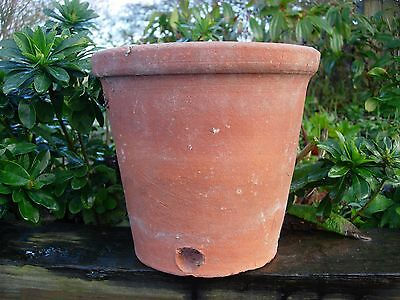 """Rare Old Hand Thrown Terracotta Plant Pots with Side Drainage 9"""" Diameter (51)"""