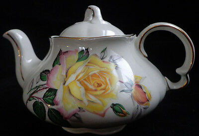 SMALL Ellgreave Wood & Sons Ironstone England Rose teapot Ralph Yellow Roses